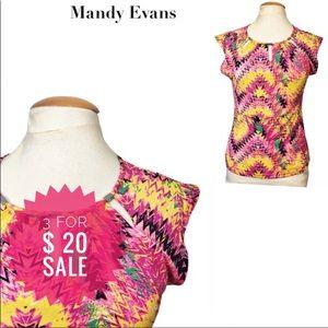 Mandy Evans colorful top Sz M